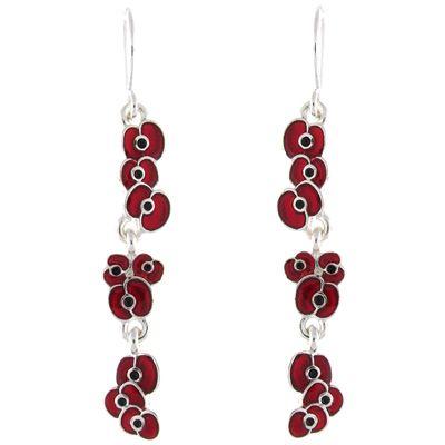 Red Diamante Poppy Dangle Earrings mBCyXBQofG