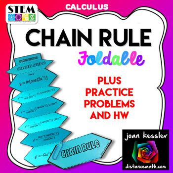 Calculus Chain Rule for Derivatives Foldable plus Homework/ Quiz.This activity is designed for AP Calculus AB, AP Calculus BC, Honors Calculus, and College Calculus 1. Great Organizer!!This fun activity will help your students better understand the chain rule and all the steps involved.