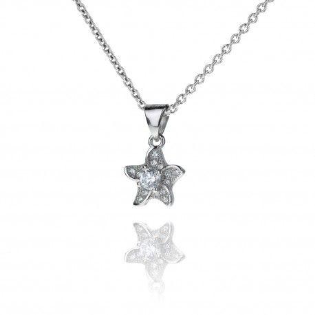 Jemný stříbrný náhrdelník s hvězdičkou ze zirkonů