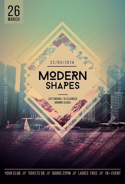 Modern Shapes Flyer  1 Psd File Print Ready 300 dpi / CMYK 1275px x 1875px (4x6) Well Organized Layers Simple to Customize