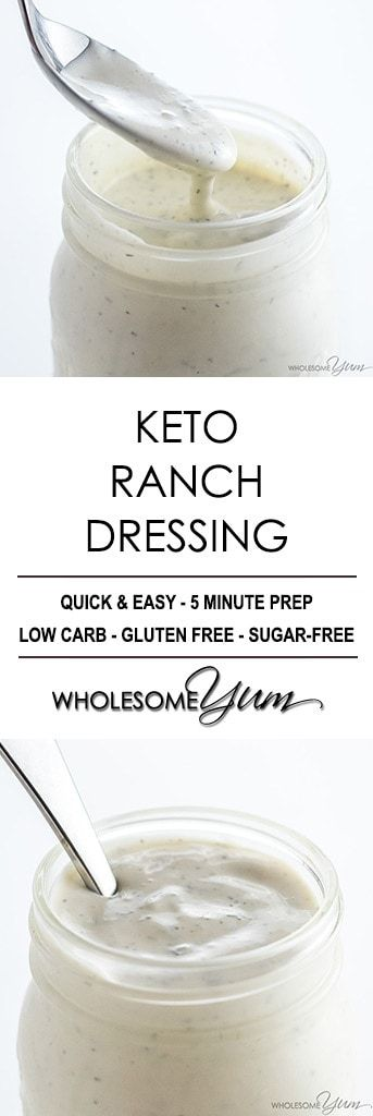 Low Carb Keto Ranch Dressing Recipe (Quick & Easy) - This easy low carb keto ranch dressing recipe takes just 5 minutes to make, using common ingredients. Delicious as a low carb dressing or dip for veggies!