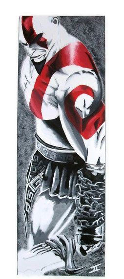 God of War - Kratos - Geekery Videogame Art - Original Acrylic Painting. $200.00, via Etsy.