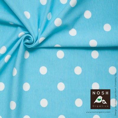 Natural Polka Dots on Capri Blue Organic Cotton Lycra Knit Fabric by Nosh Organics