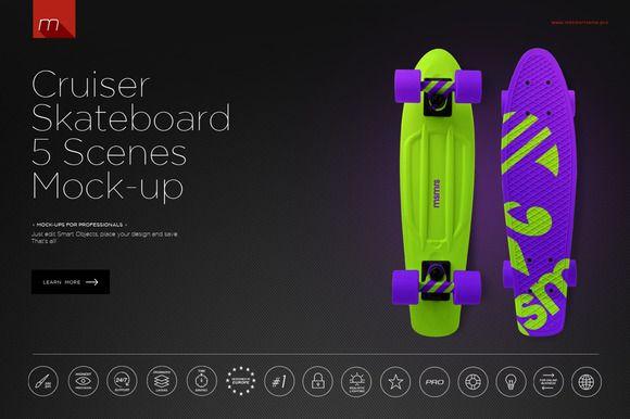 Cruiser Skateboard 5 Scenes Mock-up by mesmeriseme.pro on @creativemarket
