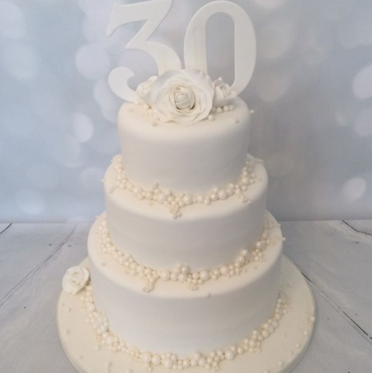 Wedding Anniversary Cake Decorated With Pearls
