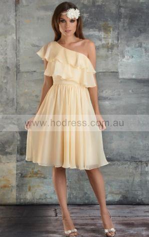 Chiffon One Shoulder Natural A-line Knee-length Bridesmaid Dresses 0740277--Hodress