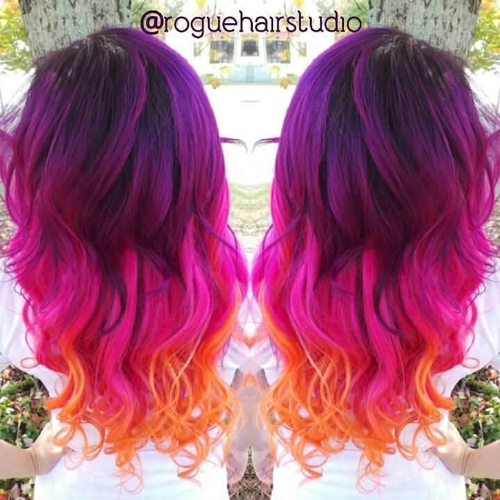 Purple Hot Pink And Orange Hair Color