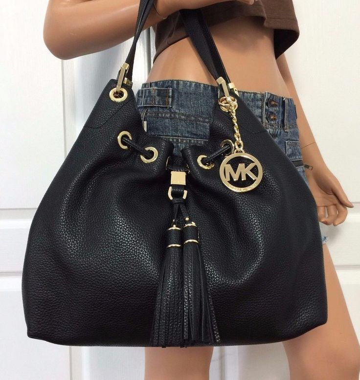MICHAEL KORS Camden Large Leather Drawstring Shoulder Handbag Tote Bag Black New…