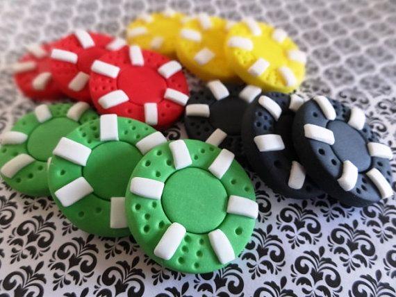 12 fichas de fondant - Poker fiesta/Las Vegas/Casino/juego fiesta temática, naipes de fondant, fondant dados, ruleta de fondant chips