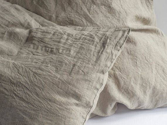 Linen Pillowcase Washed Softened Sham Standard Queen King European Pillow Case Cushion Cover 100% Flax Natural Organic Eco Gray All Size
