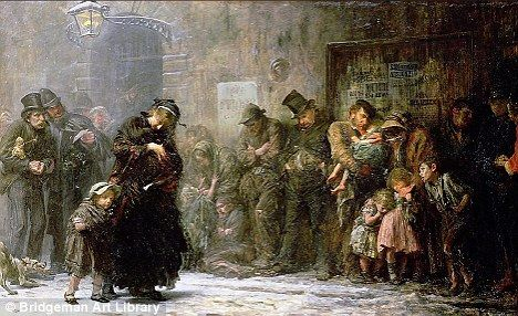 19th century London workhouse queue