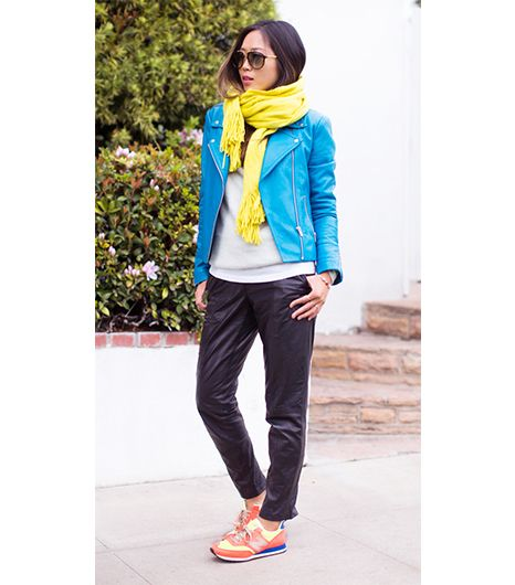 @Who What Wear - Aimee Song of Song of Style  ​On Song: Topshop Soft Hand Feel Scarf ($28); Veda Next Jacket ($890); J.Crew sweater; Muubba trousers; New Balance for J.Crew sneakers.