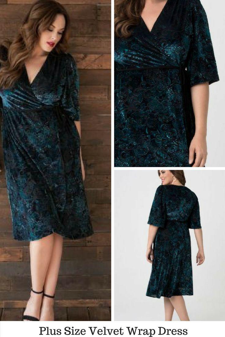 e2163e2f8d9c Plus Size Velvet Wrap Dress