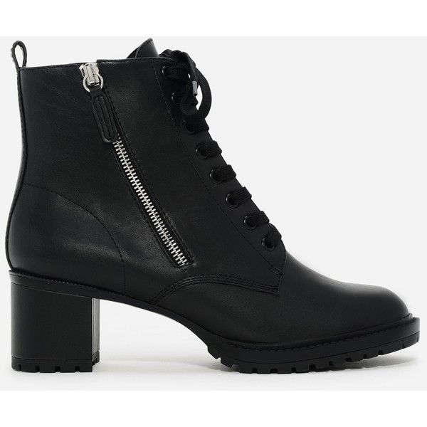 Charles & Keith ZIPPER COMBAT BOOTS (£37) ❤ liked on Polyvore featuring shoes, boots, low black boots, low boots, zipper combat boots, army boots and black army boots