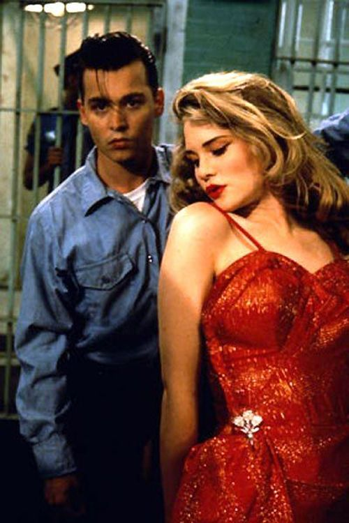 Cry-Baby (Johnny Depp) and Allison (Amy Locane) in 1990 film 'Cry-Baby'. Love that dress!