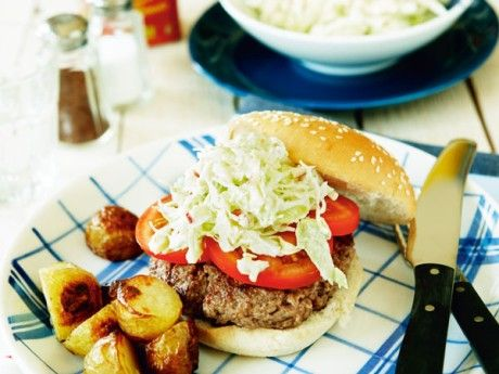 Hamburger with cabbage and appple coleslaw and roasted new potatoes