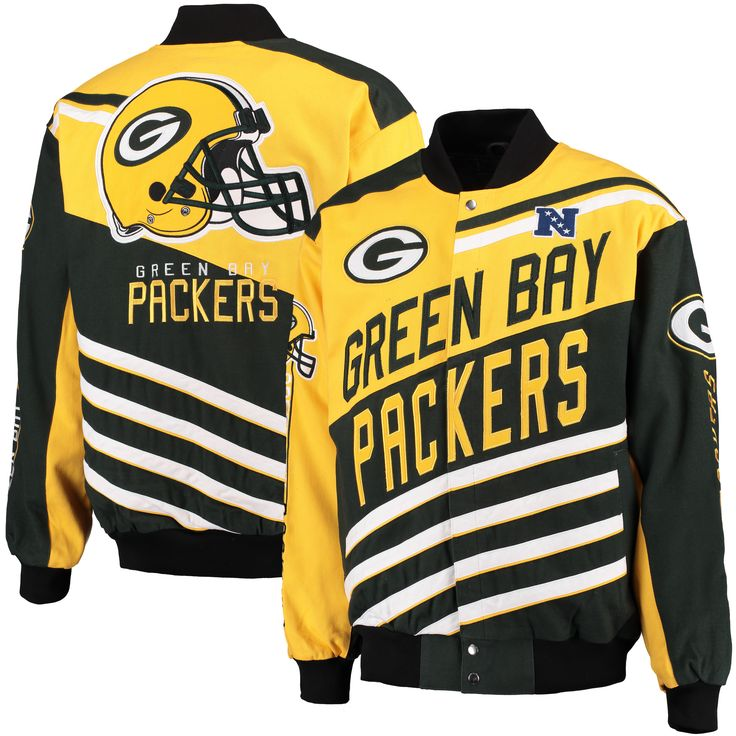 NFL Green Bay Packers G-III Sports by Carl Banks Powerhouse Twill Jacket - Green