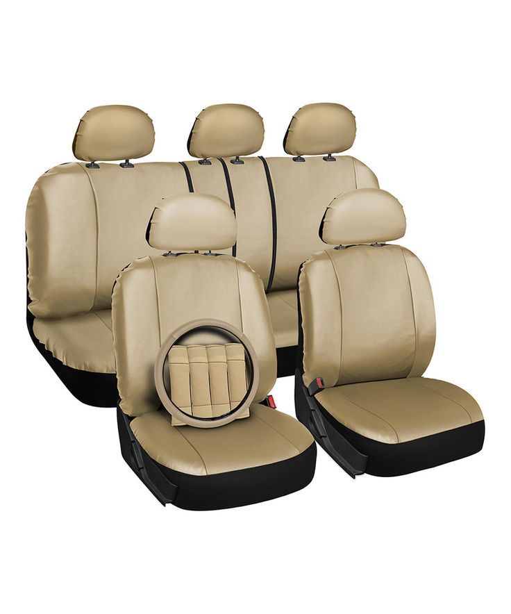 This Beige Faux Leather Full Car Seat Cover Set by OxGord is perfect! #zulilyfinds