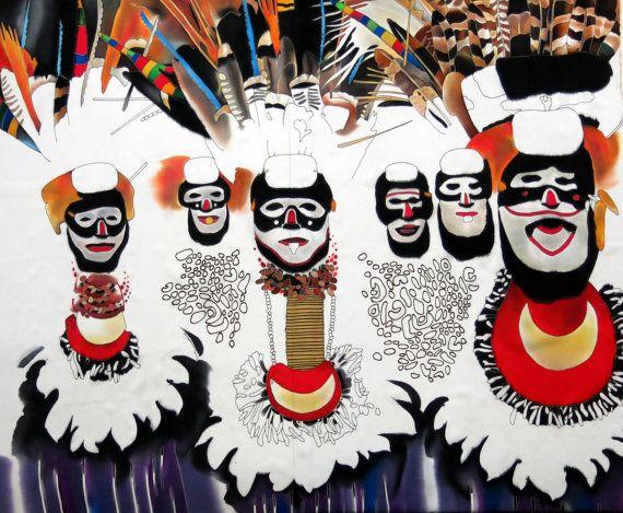 Seiden-Malerei - African Tribe. Handbemalter Seide. Batik-Malerei auf Seide. Original Seide Kunst Malerei Tribal Körperkunst