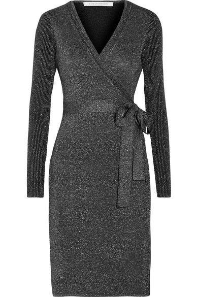 Diane von Furstenberg - Evelyn Metallic Merino Wool-blend Wrap Dress - Midnight blue - small