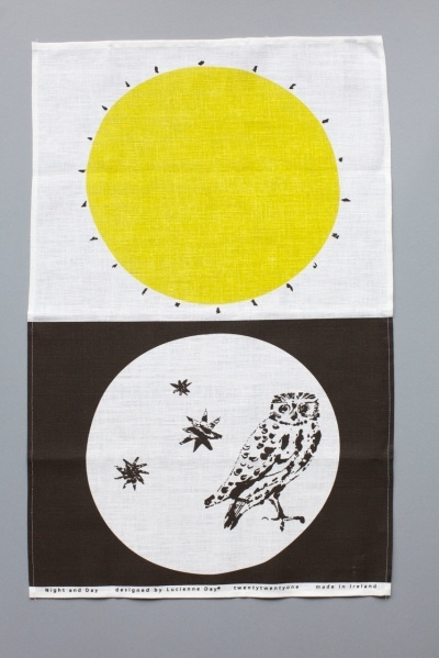 Lucienne Day 'Night and Day' Tea Towel