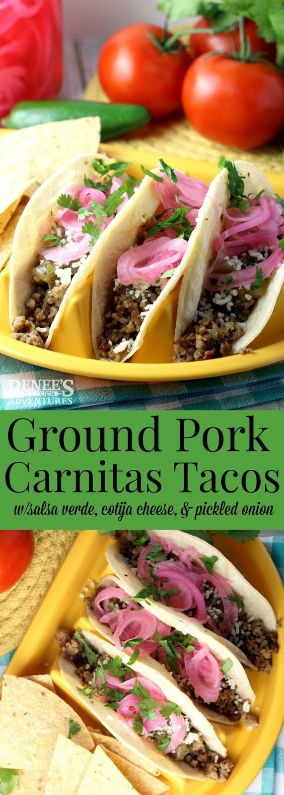 Ground Pork Carnitas Tacos | Renee's Kitchen Adventures - easy recipe made with seasoned ground pork, salsa verde, cotija cheese, cilantro and pickled onions for carnitas in about 30 minutes!  Perfect dinner or lunch recipe to celebrate Cinco de Mayo!