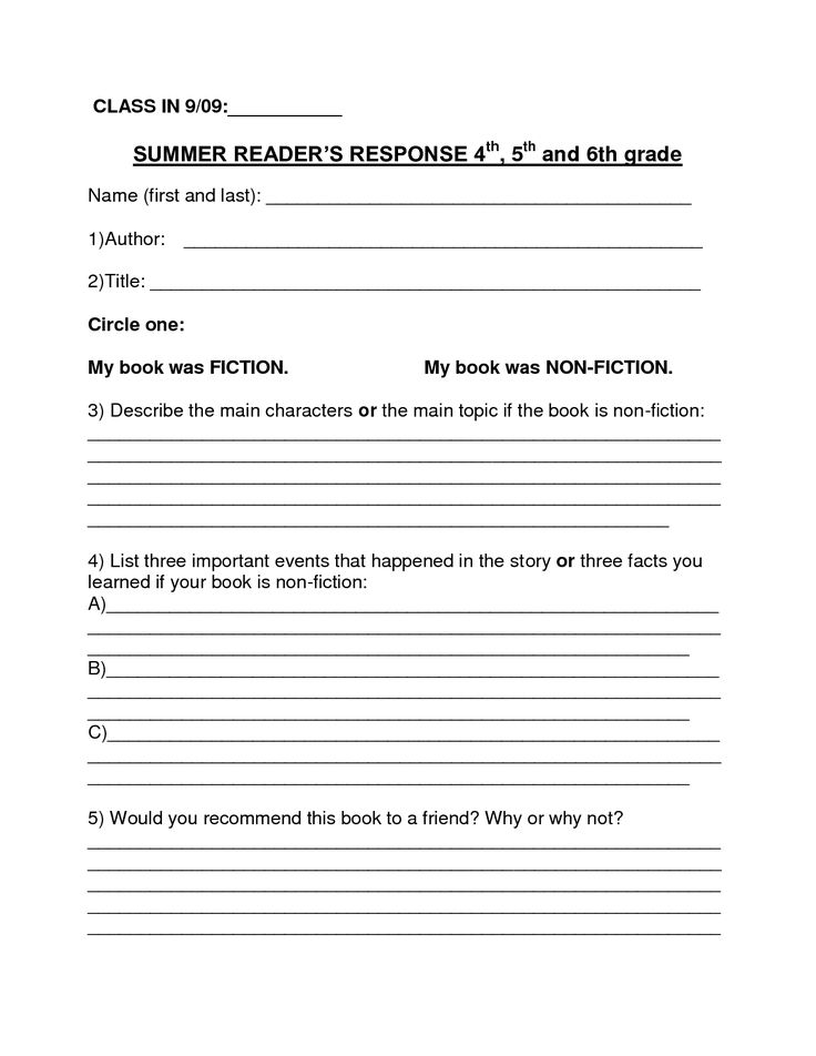 6th grade book report 5th grade summer reading book report - outline form name:_____date: _____ book title recommendation (would you suggest this book to another reader.