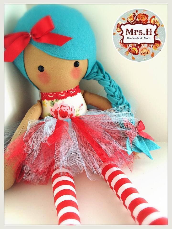 "Beautiful Peyton with her red and blue tutu which is removable. She is 19"" tall, CE marked and suitable from birth.Made from quality cotton fabrics, 100% wool felt and soft tulle."