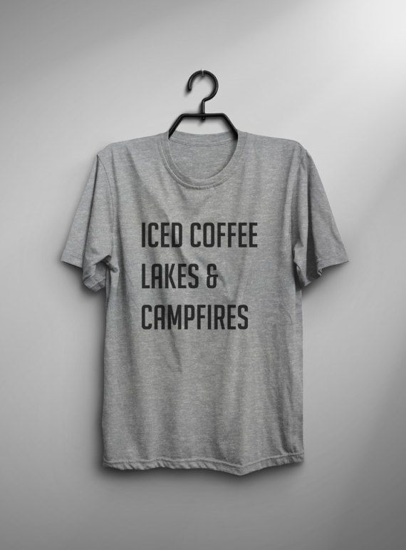Iced coffee Lakes & Campfires • Clothes Outift for woman • teens • dates • hiking • outdoor • mountain • camping • stylish • casual • fall • spring • winter • classic • fun • cute • summer • parties • sparkle