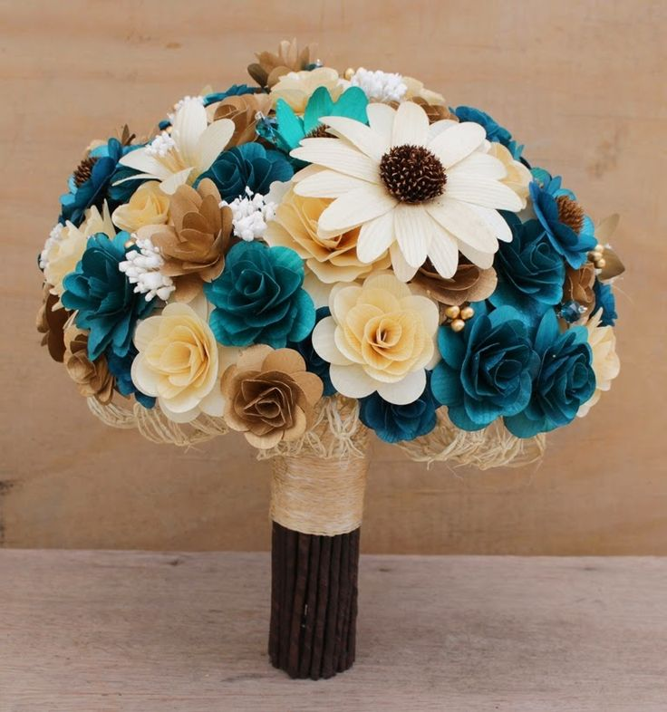 Teal and Copper Wedding Bouquets, Corsages and Boutonnieres Made of Wooden Flowers Custom Order for Becky Boutonnieres ...