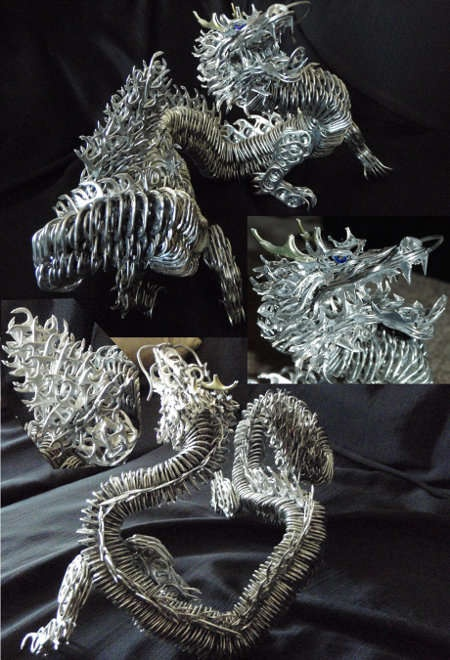 Fantasy Soda Can Creations  This Dragon is Made Out of Recycled Pop Cans