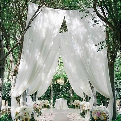 10M White Table Chair Swags Sheer Organza Fabric Wedding Party Decor Eage # Ombre – Outdoor garden decor ideas