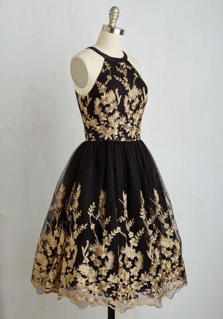 Photo Opulent Dress. With your award-winning smile and this black fit and flare dress by Chi Chi London, youre red carpet ready! #black #modcloth