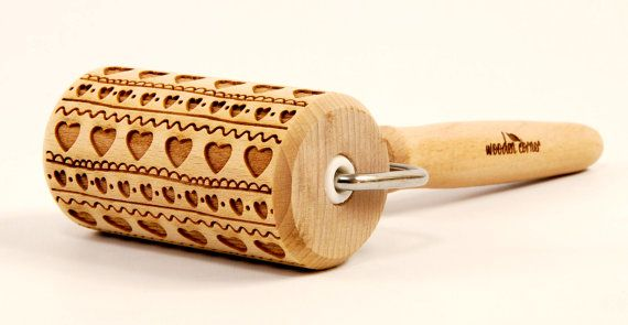 FOLK HEART PATTERN - Vikings Embossing rolling pin, engraved rolling pin