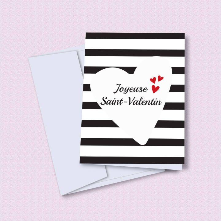 Carte Saint-Valentin imprimable, printable Valentine's day card, carte de voeux Joyeuse Saint-Valentin à imprimer