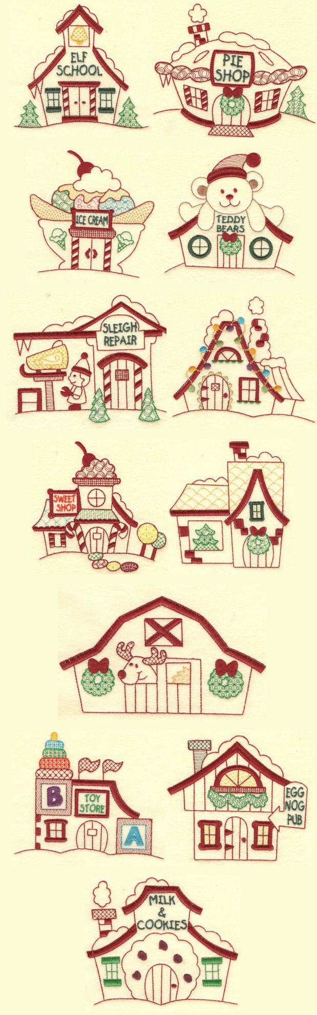 Embroidery Designs | Free Machine Embroidery Designs | Santa's Village colorwork