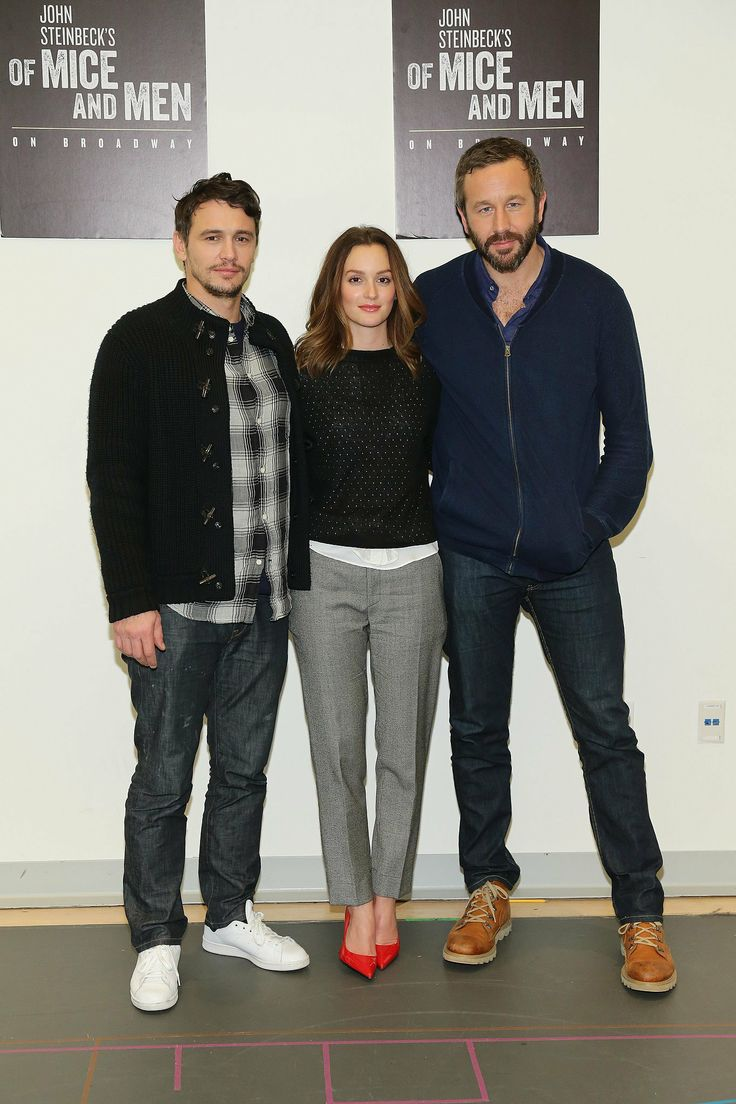 The of mice and men cast at a press conference for the broadway show