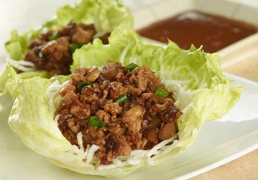 Pei Wei Traditional Chicken Lettuce Wraps.  Shitake mushrooms, water chestnuts, scallions, garlic, soy sauce, rice, iceberg lettuce.