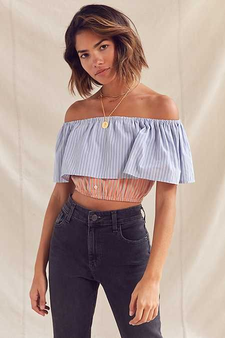 Urban Renewal Remade Off-The-Shoulder Striped Cropped Top