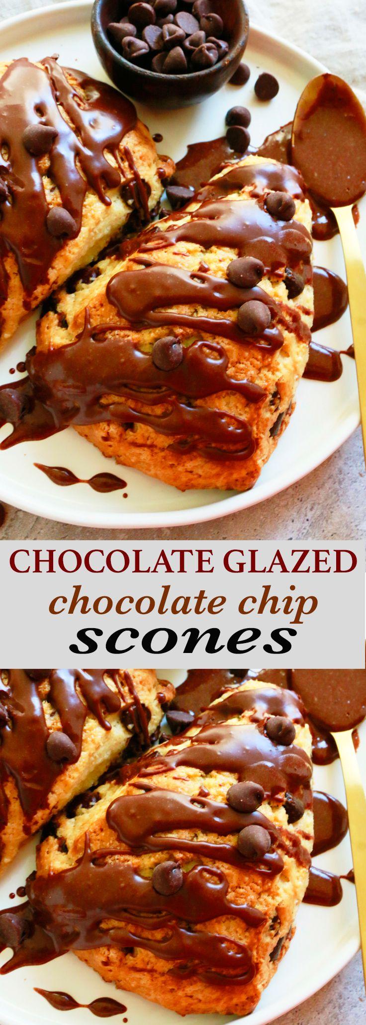 chocolate glazed scones | chocolate scones | chocolate chip scones