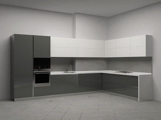 Пример сочетания двух цветов в кухонной мебели