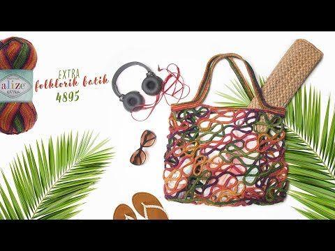 Alize Extra Folklorik Batik ile Çanta - Bag with Alize Extra Folklorik Batik - YouTube