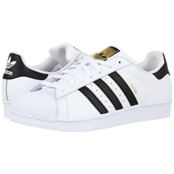 adidas Originals Superstar 2 (White/Black/White 2) Classic Shoes ($80) ❤ liked on Polyvore featuring shoes, sneakers, grip shoes, black and white shoes, white black shoes, traction shoes and rubber toe shoes