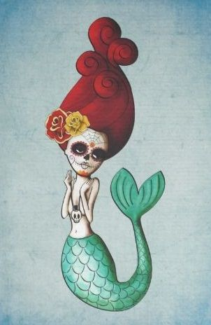 Shop The Day of The Dead Beautiful Mermaid Postcard created by daisyO. Halloween Pin Up, Sugar Skull Halloween, Mermaid Gifts, Mermaid Art, Calaveras Mexicanas Tattoo, Dead Beautiful, Beautiful Mermaid, All Souls Day, Skeleton Art