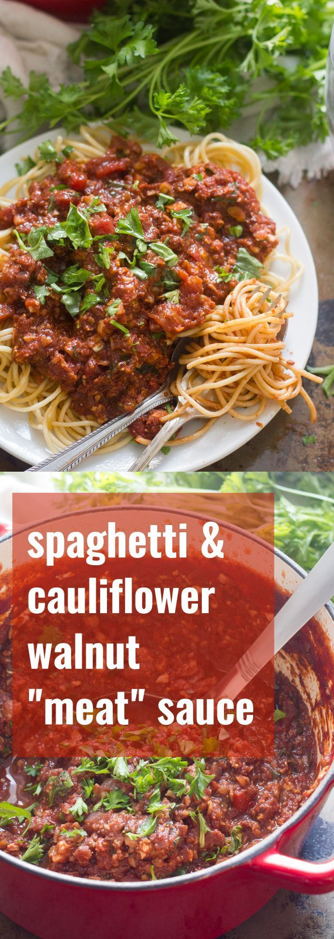 Cauliflower and walnut crumbles are seasoned, baked and smothered in zesty tomato sauce to make this veganized version of spaghetti with meat sauce.