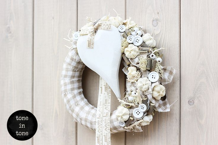H.O.M.E. #Dress #Up #Your #Door with this #DIY #white #nature #grey #Wreath #handmade  | by toneintone