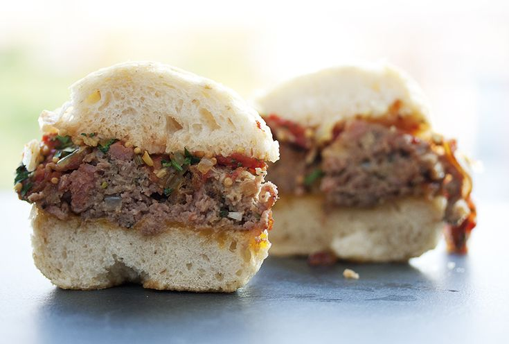 The most delicious meatloaf sandwich with cheddar cheese, bacon, tomato relish and pickled mustard seeds.