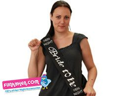 Black Bride To Be Hen Night sash ideal for a black & bling hen do. Use the hen party discount code PIN15 to save 15% http://www.funkyhen.com/hen-party-accessories/