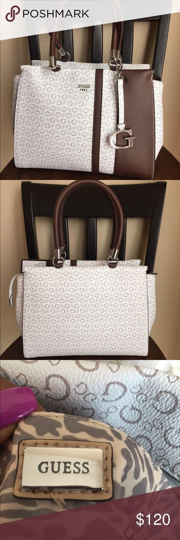 Guess handbag Beautiful chocolate and vanilla leather handbag with iconic guess symbol print. Guess Bags Satchels