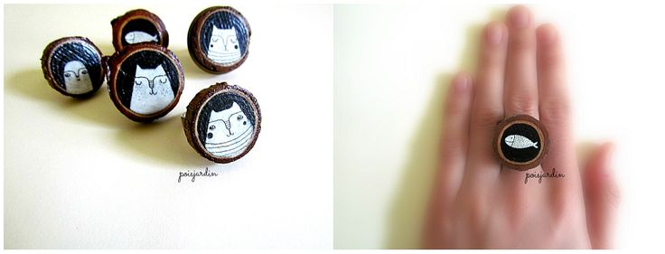 Handmade wooden rings.